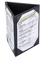 "Black Leatherette 5"" x 7"" (3) Sided Table Tent"