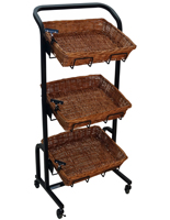 Floor Standing 3 Tier Wicker Basket Stand