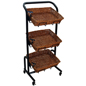 3 Tier Wicker Basket Stand with Casters