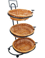 Rolling Wicker Basket Stand