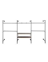 Pipe Outrigger Retail Wall System with 2 Dark Brown Shelves