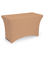Tan rectangle stretch table cloth with 4 foot design