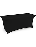 Black stretch table cloth with fire retardant material