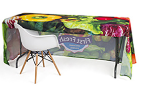 Open Back Custom Printed Table Cover