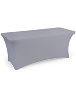 Gray stretch table cloth with machine washable fabric