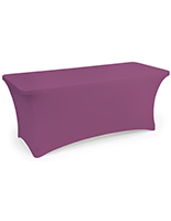 Purple stretch table cloth with flame retardant fabric