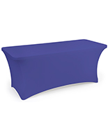 Royal blue stretch table cloth with fitted skirt design