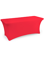 Red stretch table cloth with long lasting polyester construction