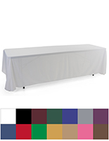 3-sided event table cloth with two size options and wide range of colors in flame retardant polyester