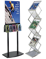 Literature displays to organize magazines and brochures