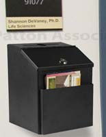 These fundraising boxes can be wall mounted or placed on countertops.