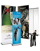 These higher quality pop up banners feature retracting designs for portability.