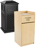 Commercial trash receptacles for waste and recycling