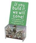 A charity box works well for churches and schools