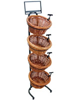 Tiered Wicker Tray Stand with Round Baskets