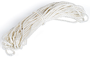 50' white nylon sign rope with double-braided pattern
