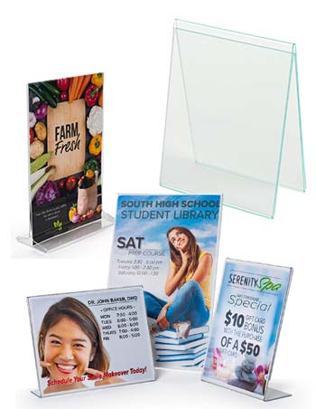 Countertop sign holders display promotional material for customers