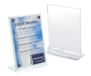 Sign frames with business card holders