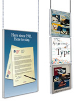 Use these ceiling hung poster displays as an alternative to traditional wall mounts.