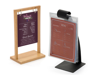 Restaurant table tents and menu holders