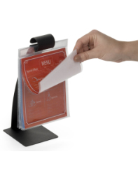 Stainless steel curved menu holder flip stand