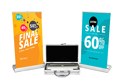 Two tabletop retractable banners and case