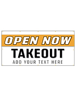 Open for take out banner sign with indoor and outdoor design