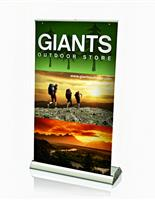 Custom printed retractable table top banner stand.