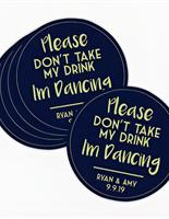 Round custom printed coasters.