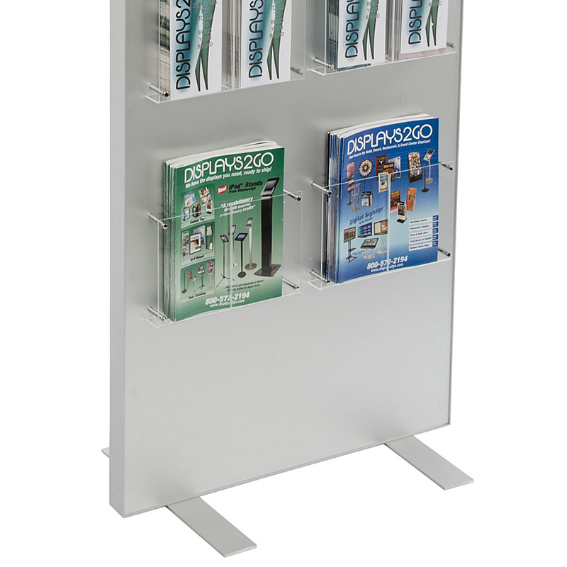 Brochure holders with standoffs mounted to a floor stand
