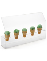 Acrylic Ice Cream Cone Holder with Slanted Sneeze Guard