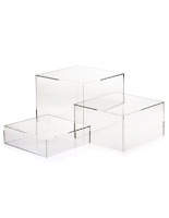 Clear Acrylic Cube Set of 3 Nesting Risers