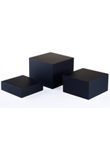 Black Acrylic Cube Set of 3, Matte Finish