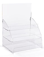 3 Tiered clear countertop merchandising stand ships flat