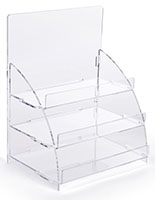 Three tiered acrylic retail countertop rack ships flat