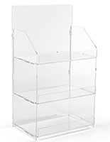 3 shelf countertop acrylic tower stand, easily portable