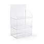 3 shelf countertop acrylic tower stand with wide shelf areas