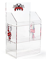 Branded acrylic portable tiered retail shelves features 3 levels