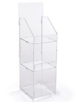 Folding acrylic 3 tier retail display case features bent front lips