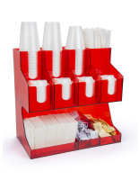 11 pocket acrylic red coffee cup dispenser and lid holder