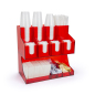 Three tiered red acrylic coffee cup dispenser and lid holder