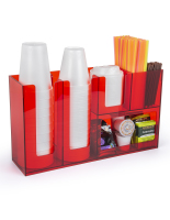 6 compartment acrylic coffee bar condiment organizer