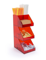 Three tier red acrylic coffee creamer caddy