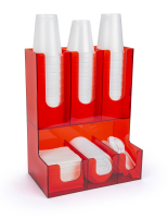 6 compartment red acrylic coffee bar organizer
