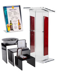 acrylic displays include risers, sign stands & podiums