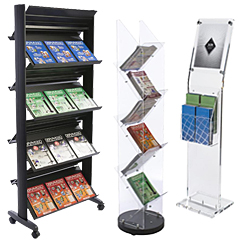 Acrylic and Black Plastic Magazine Display Stands