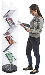 Floor Standing Multi-Pocket Magazine Rack for Lobby Use