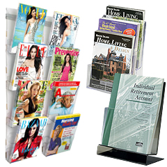 Plastic wall & counter magazine holders