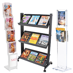 Plastic floor stands for magazines
