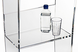 Clear acrylic podium with interior shelf